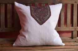 cushion made of vintage french linen and antique embroidery